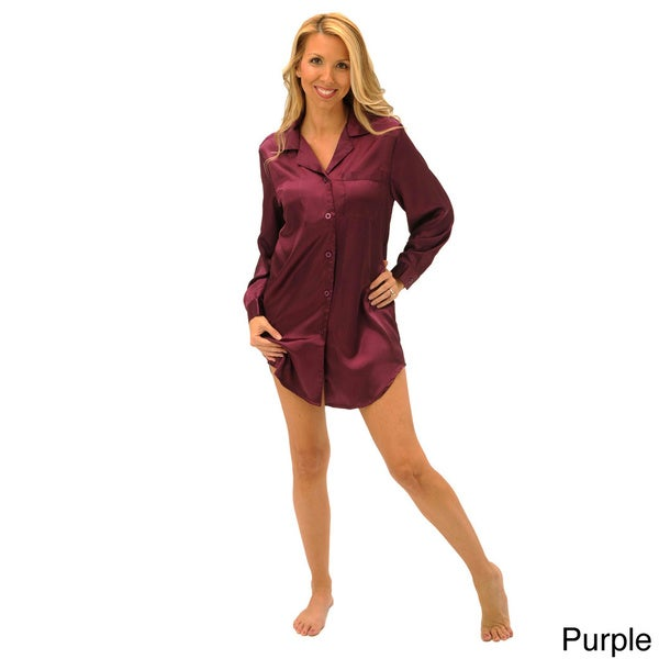 Del Rossa Women's Satin Sleep Shirt