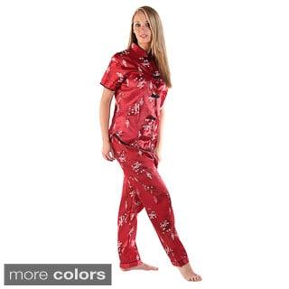 Del Rossa Women's Chinese Inspired Satin Pajama Set