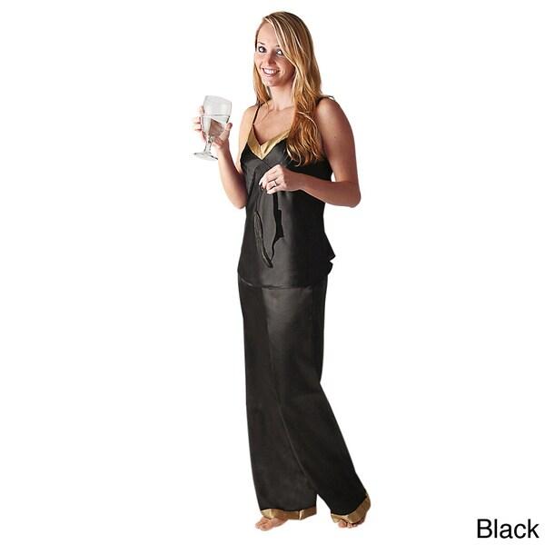 Del Rossa Women's Contrasting Trim Satin Pajama Set
