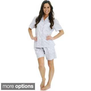 Del Rossa Women's Woven Cotton Top and Shorts Pajama Set