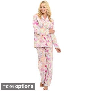 Del Rossa Women's Woven Cotton Pajama Set