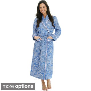 Del Rossa Women's Woven Cotton Robe