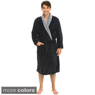 Del Rossa Men's Contrasting Shawl Collar Fleece Bath Robe