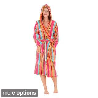 Del Rossa Women's Hooded Candy Striped Fleece Robe