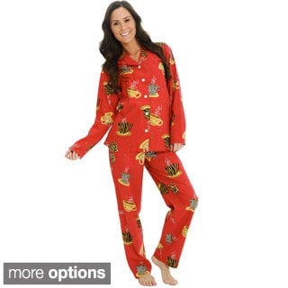 Del Rossa Women's Flannel Top and Pants Pajama Set