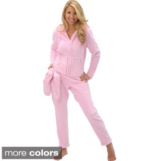 Del Rossa Women's Hooded Footed One-Piece Fleece Pajamas
