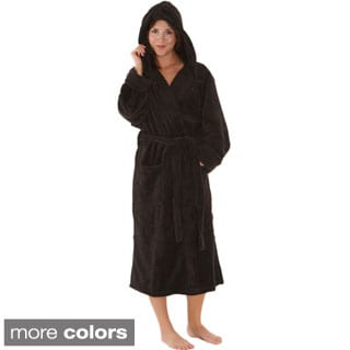 Del Rossa Women's Soft Hooded Fleece Robe