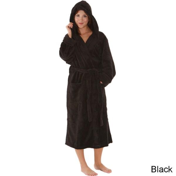 Del Rossa Women's Soft Hooded Fleece Robe