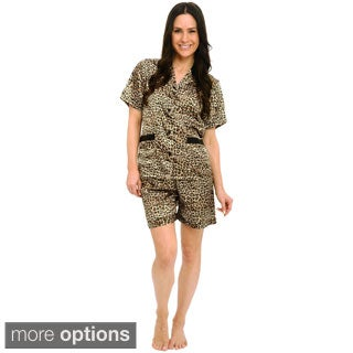 Del Rossa Women's Satin Top and Shorts Pajama Set