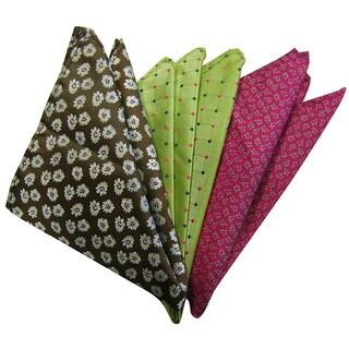Dmitry Men's Green/Brown/Pink Italian Silk Pocket Squares (Pack of 3)