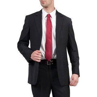 Men's Black Modern-Fit Double-Vented Two-Button Suit