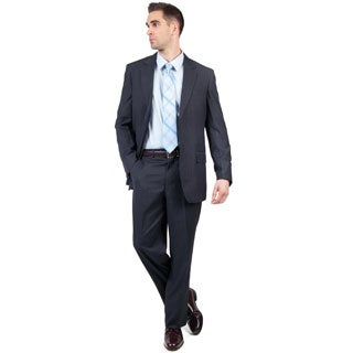 Men's Blue Modern Fit Two-Button Suit with Three Interior Pockets
