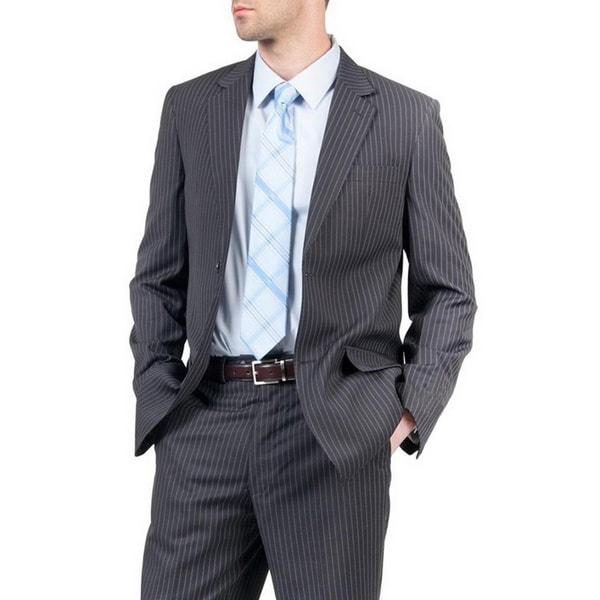 Men's Blue Pinstripe Modern Fit 2-button Suit