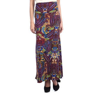 Tabeez Women's Mixed Print Paisley Skirt