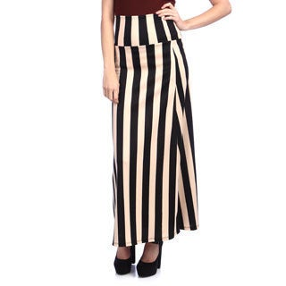 Tabeez Women's Multicolored Vertical Stripe Maxi Skirt