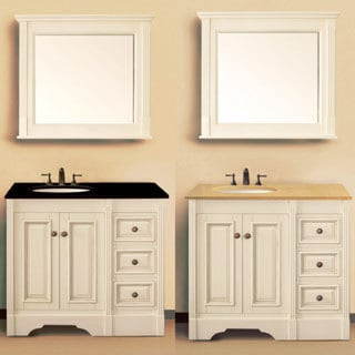 Luxury Beautiful Design With Creamy Ivory Bathroom Cabinets, Black Mirrors, Calcutta Gold Marble Counter Tops, White Carrara