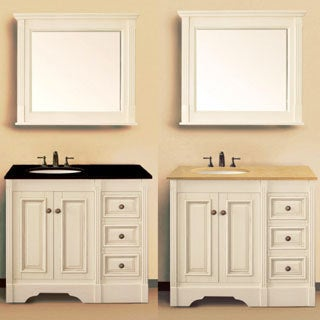 Fresca allier 36 inch grey oak modern bathroom vanity with mirror - Black Granite Top 40 Inch Single Sink Bathroom Vanity In White Finish