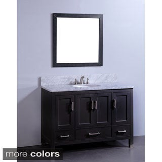 Marble Top 48-inch Single Sink Bathroom Vanity in Espresso Finish with Matching Framed Wall Mirror