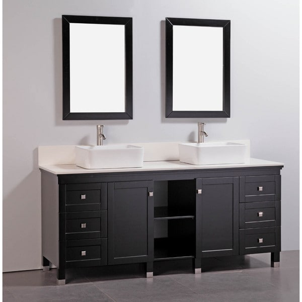 Awesome Stone Top 60inch Double Sink Bathroom Vanity With Matching Mirror
