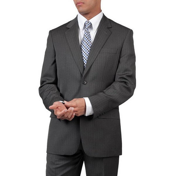 Men's Grey Modern Fit Two-Button Suit with Two Side Pockets