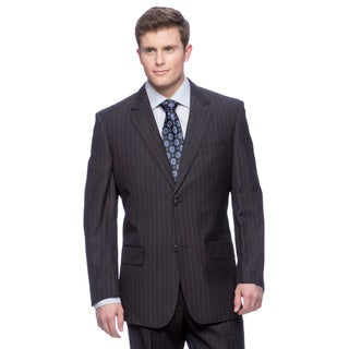Men's Blue Modern Fit 2-button Flat Front Suit