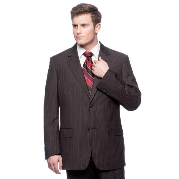 Men's Black Modern-Fit Microfiber Two-Button Suit