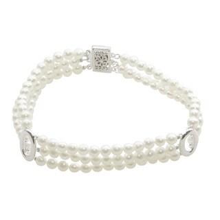Sterling Silver White Freshwater Pearl 3-strand Bracelet (4-4.5 mm)