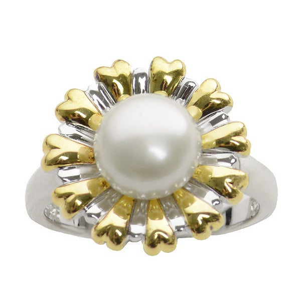 Sterling Silver and 14k Yellow Gold Freshwater Button Pearl Flower Ring (8-8.5 mm)