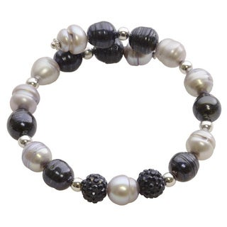 Sterling Silver Dyed Black and Grey Freshwater Pearl and Crystal Bead Bangle Bracelet (8-9 mm)