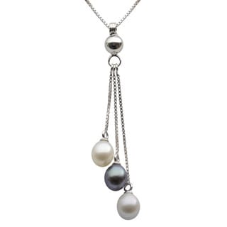 Sterling Silver White, Dyed Black and Grey Freshwater Pearl Teardrop Necklace (7-7.5 mm)