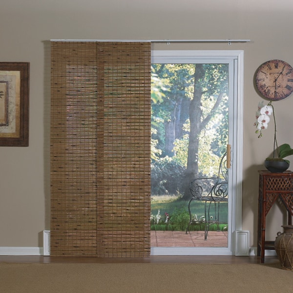 Pecan Finish Bamboo Jakarta Panel Track Sliding Window Shade