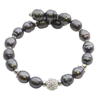 Sterling Silver Dyed Black Freshwater Pearl and Crystal Bead Bangle Bracelet (8-9 mm)