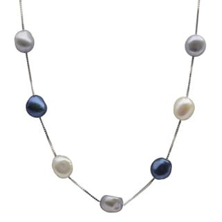 Sterling Silver White and Dyed Blue Baroque Freshwater Pearl Necklace (9-10 mm)
