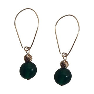 14k Gold-filled Marquis Green Agate Dangle Earrings
