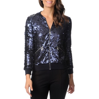Berek Women's Navy Allover Sequined Jacket