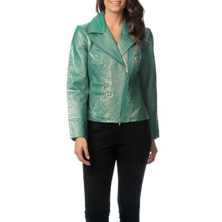 Berek Women's Turqouise Embossed Leather Jacket