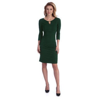 London Times Women's Forest Green Keyhole Sheath Dress