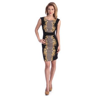 London Times Women's Black/ Gold Scroll Print Sheath Dress