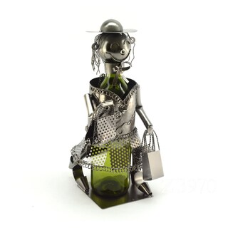 Recycled Metal Shopping Lady Wine Bottle Holder