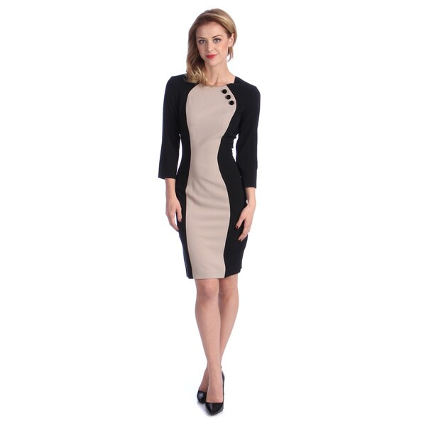 London Times Women's Taupe/ Black Colorblocked Long Sleeve Sheath Dress