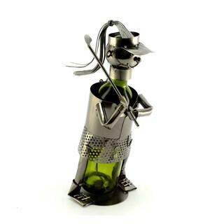 Recycled Metal Lady Golfer Wine Bottle Holder