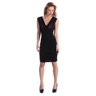 London Times Women's Black V-neck Mesh Bodice Sheath Dress