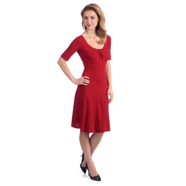 London Times Women's Red Elbow Sleeve Fit 'n Flare Dress