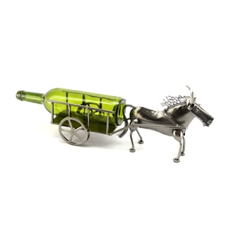 Recycled Metal Donkey and Cart Wine Bottle Holder