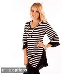 Aster by Firmiana Women's Striped Sequin Top