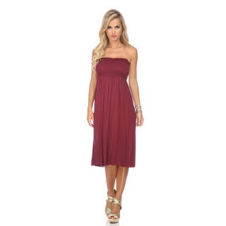 Stanzino Women's Burgundy Smocked Knee Length Dress