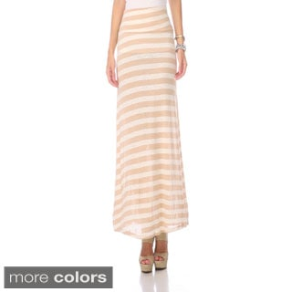 Stanzino Women's Striped Fold-over Waist Maxi Skirt