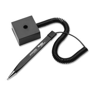 Wedgy Secure Ballpoint Stick Coil Pen with Square Base Black Ink Fine
