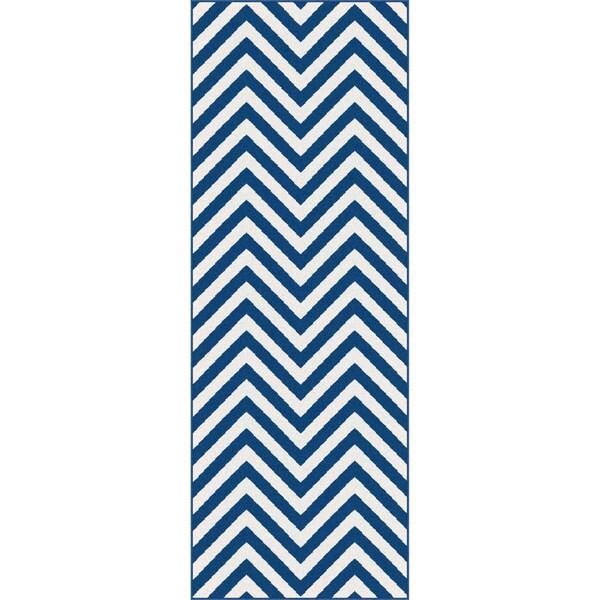 Metropolis Navy/ White Runner Rug (2'7 x 7'3)