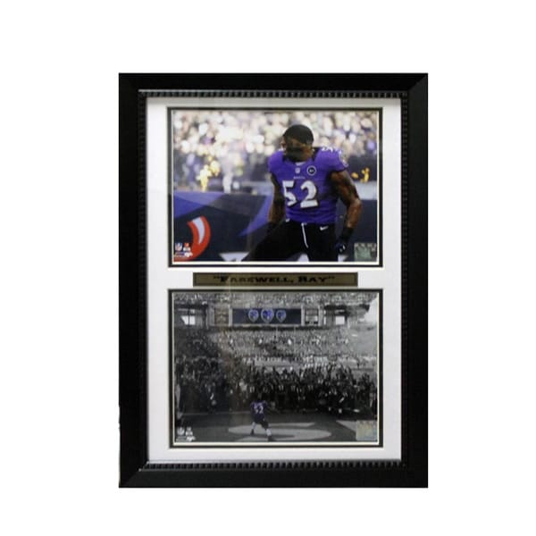 Baltimore Ravens Ray Lewis Farewell Ray 12 x 18 Custom Framed Double Print